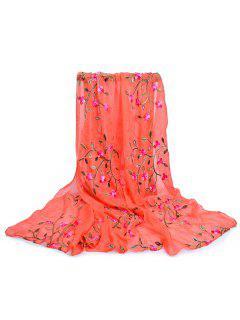 Flower Embroidery Silky Long Scarf - Pumpkin Orange