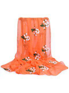 Floral Embroidery Silky Shawl Scarf - Pumpkin Orange