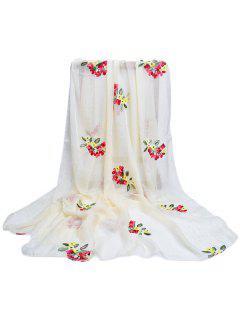 Floral Pattern Embellished Silky Long Scarf - Beige