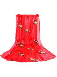 Floral Pattern Embellished Silky Long Scarf - Fire Engine Red