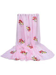 Estampado De Flores Embellecido Larga Bufanda Sedosa - Rosa Claro