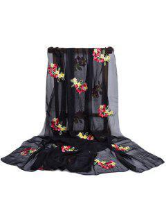 Floral Pattern Embellished Silky Long Scarf - Black