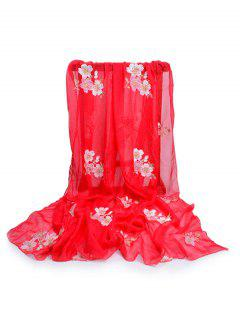 Fresh Floral Decorative Spring Fall Scarf - Fire Engine Red