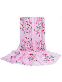 Flower Embroidery Silky Long Scarf - Pig Pink