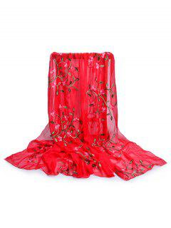 Flower Embroidery Silky Long Scarf - Fire Engine Red
