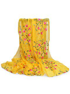 Flower Embroidery Silky Long Scarf - Yellow