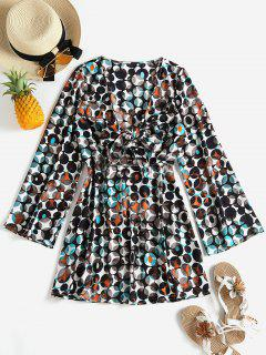 Tie Front Plunge Printed Dress - Multi Xl