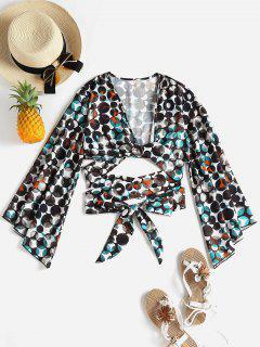 Blusa Estampada Con Manga De Llamarada - Multicolor Xl