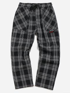 Drawstring Plaid Nine Minutes Of Pants - Black L