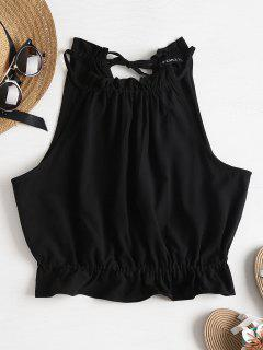 Ruffles Crop Tank Top - Black L