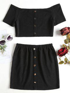 Buttoned Off Shoulder Top And Skirt Set - Black L