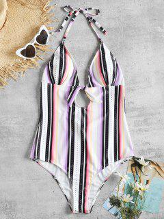 One Piece Stripe Knot Backless Swimsuit - Multi L