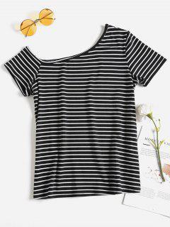 Stripes One Shoulder Tee - Black S