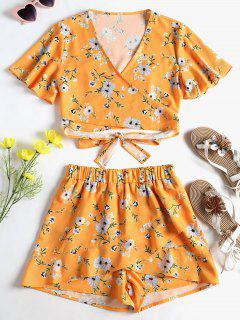 Floral Wrap Knotted Shorts Set - Bee Yellow L
