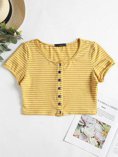 Snap Button Stripes Top - Golden Brown M