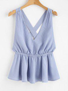 Backless Striped Tank Top - Blue Angel L