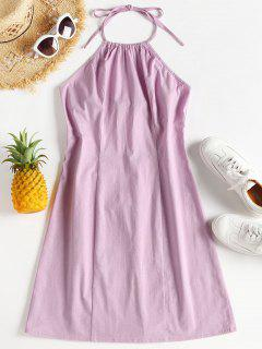 Halter Tie Back Bodycon Mini Sun Dress - Mauve S