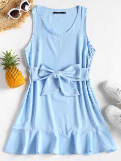 Tie Waist Ruffle Hem Mini Dress - Light Sky Blue M