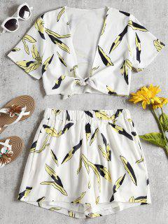 Leaves Tie Front Top And Shorts Set - White L