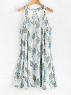 Leaves Print Sleeveless Dress - White L