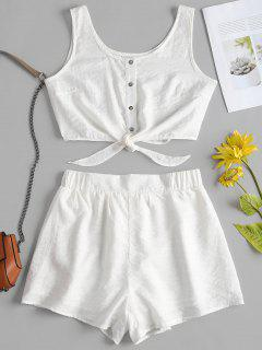 Sleeveless Button Up Crop Top And Shorts Set - White L