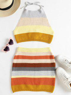 Knitted Striped Top And Skirt Set - Multi L
