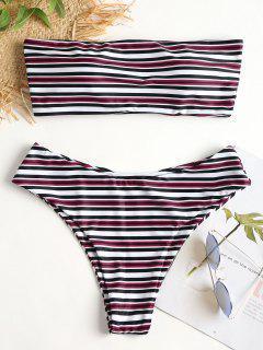 Multi Streifen Bandeau Bikini Set - Multi L