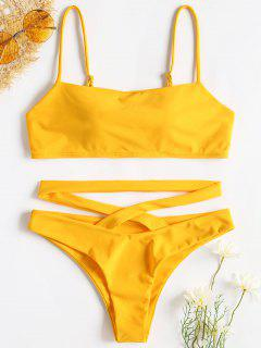 Bikini Croisé à Bretelles Spaghetti - Jaune Canard Caoutchouc L