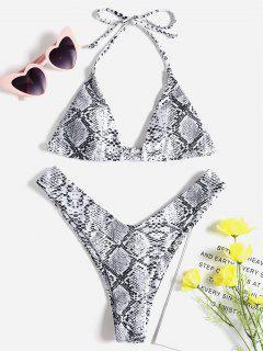 ZAFUL Halter Snakeskin Leopard High Leg Bikini - White S