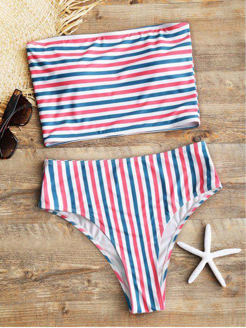women's Striped Tube Top with High Cut Bikini Bottoms - STRIPE L Mobile