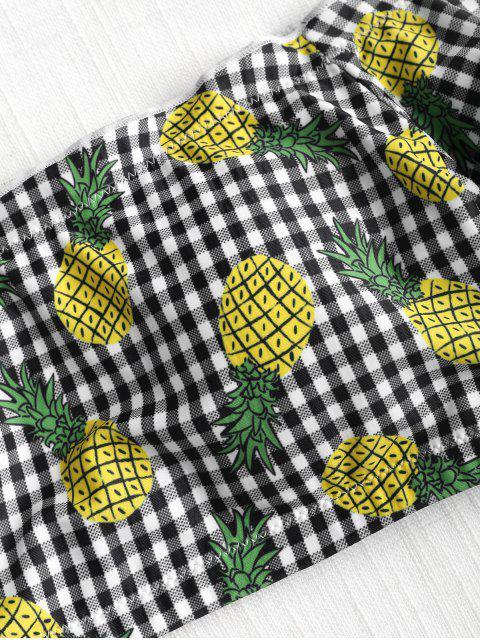 hot Off Shoulder Gingham Pineapple Bikini Set - MULTI L Mobile