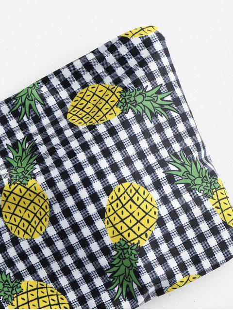 affordable Gingham Pineapple Bandeau Bikini Set - MULTI S Mobile