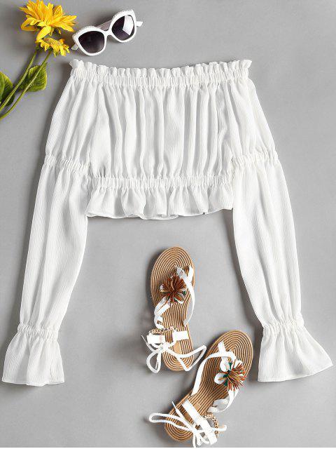 shop Ruffle Off Shoulder Blouse - WHITE L Mobile