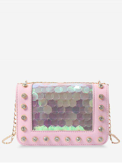 hot Metal Chain Rhinestone Sequins Decorated Crossbody Bag - LIGHT PINK  Mobile