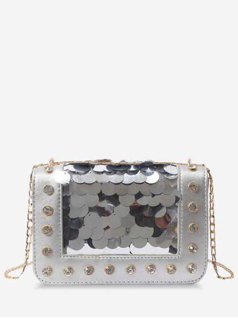 outfit Metal Chain Rhinestone Sequins Decorated Crossbody Bag - SILVER  Mobile