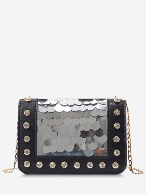 outfits Metal Chain Rhinestone Sequins Decorated Crossbody Bag - BLACK  Mobile