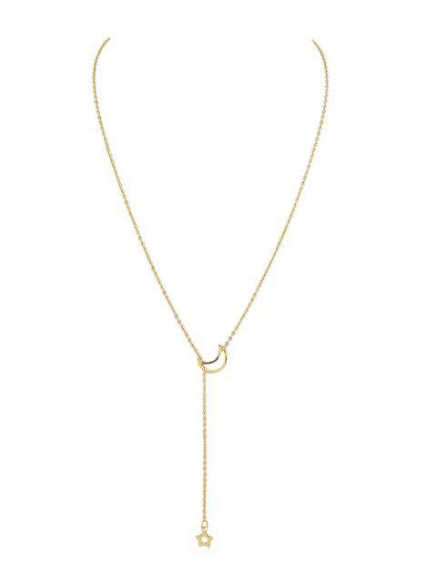 outfit Star Moon Design Decoration Chain Necklace - GOLD  Mobile