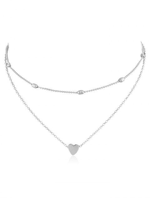 Collar de capas de decoración de diseño de corazón - Plata  Mobile