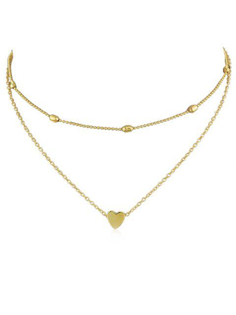 outfit Heart Design Decoration Layered Necklace - GOLD  Mobile