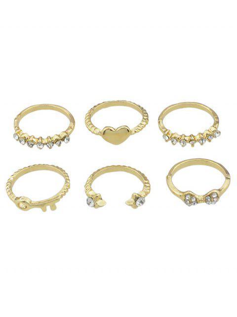buy Heart Rhinestone Design Decoration Ring Set - GOLD ONE-SIZE Mobile