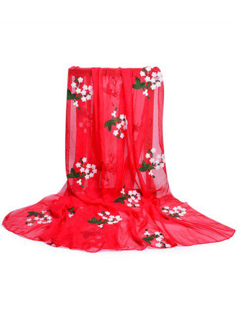 trendy Floral Embroidery Silky Shawl Scarf - FIRE ENGINE RED  Mobile