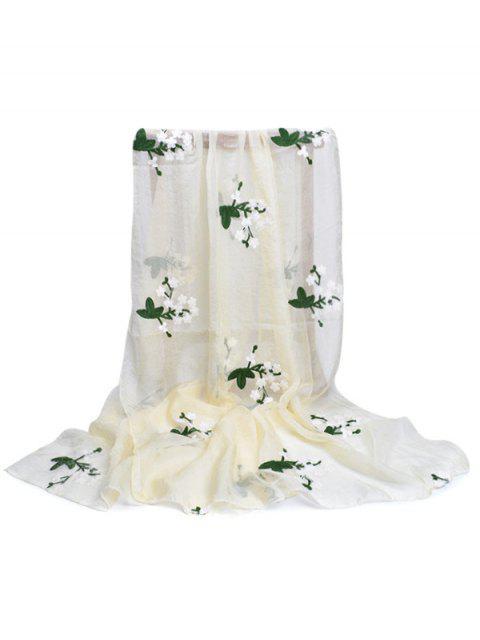 Bufanda sedosa del chal floral del bordado - Beige  Mobile
