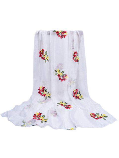 women Floral Pattern Embellished Silky Long Scarf - WHITE  Mobile