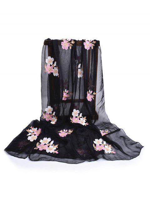 shop Fresh Floral Decorative Spring Fall Scarf - BLACK  Mobile