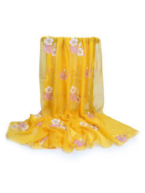 Écharpe d'Automne et de Printemps Décorée de Fraîches Fleurs - Jaune Soleil  Mobile