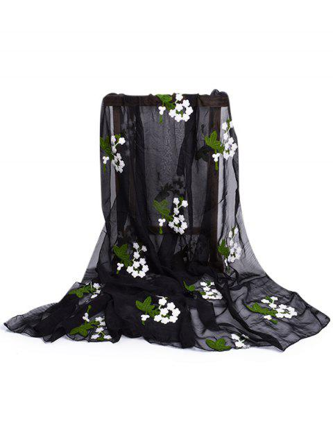 unique Floral Embroidery Silky Shawl Scarf - BLACK  Mobile
