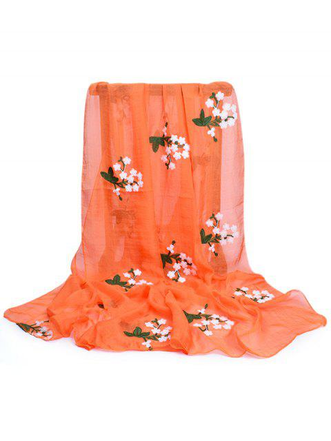 buy Floral Embroidery Silky Shawl Scarf - PUMPKIN ORANGE  Mobile
