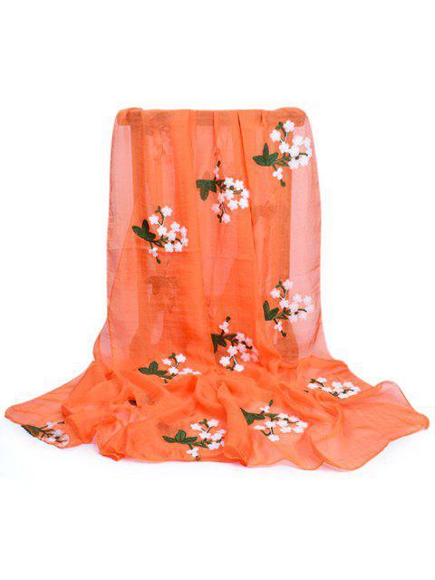 Écharpe Soyeuse en Broderie Florale - Orange Citrouille  Mobile