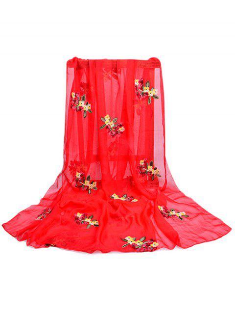Estampado de flores embellecido larga bufanda sedosa - Rojo de Camión de Bomberos  Mobile