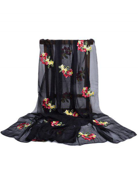outfit Floral Pattern Embellished Silky Long Scarf - BLACK  Mobile